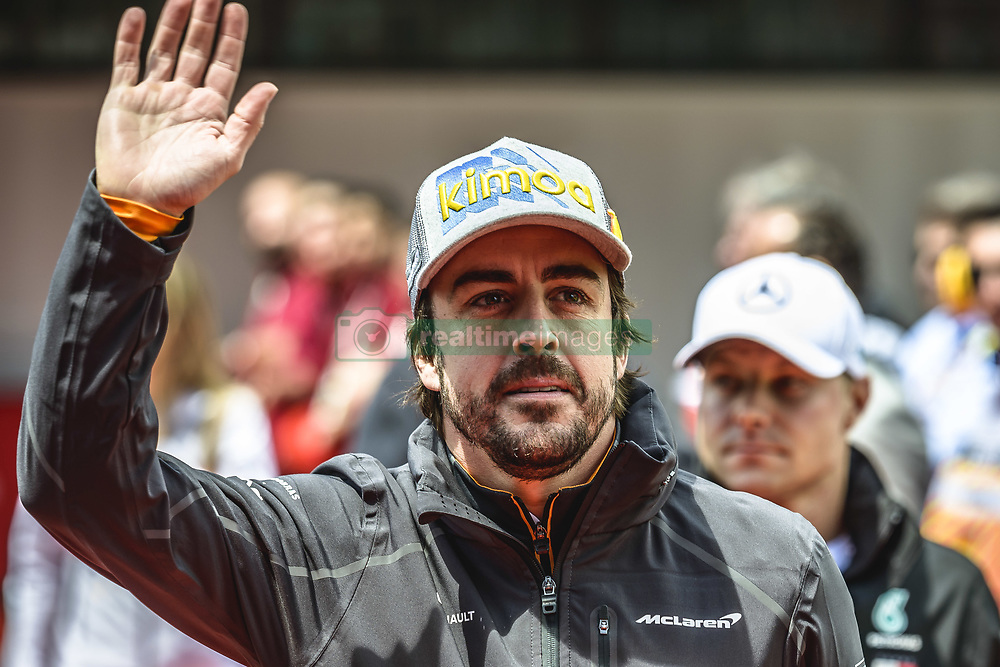 May 13, 2018 - Barcelona, Catalonia, Spain - FERNANDO ALONSO (ESP), McLaren, is presented to the crowd prior the Spanish GP at Circuit de Barcelona - Catalunya (Credit Image: © Matthias Oesterle via ZUMA Wire)