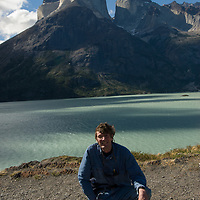 Photographer Gordon Wiltsie beside Lake Nordenskjold, under the Horns of Paine in  Torres del Paine National Park, Chile.