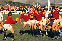 Rugby Union - 1977 British Lions tour of New Zealand -<br /> Marlborough - Nelson Bays 23 British Lions 40<br /> <br /> Lions forwards look on from the lineout as the ball goes back to scrum-half Doug Morgan, at Landsdowne Park, Blenheim. (l-r): Jeff Squire, Derek Quinnell, Gordon Brown, Bill Beaumont.<br /> <br /> 05/07/1977