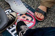Feet stamp on a poster telling Iranian President, Mahmoud Ahmadinejad, to go to Hell at a Pro-Iranian democracy demonstration Tokyo, Japan, Sunday, June 28th 2009