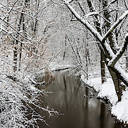 As the snowfall ends, everything has a clean white coat.  What a wonderful offset to the browns of the brook and trees.