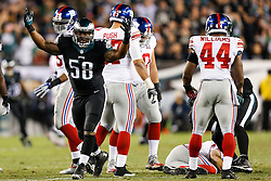 Philadelphia Eagles outside linebacker Trent Cole #58 reacts after sacking the quarterback during the NFL game between the New York Giants and the Philadelphia Eagles at Lincoln Financial Field in Philadelphia on Sunday October 12th 2014. The Eagles won 27-0. (Brian Garfinkel/Philadelphia Eagles)
