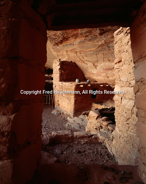 Keet Seel, Ancestral Pueblo cliff dwelling occupied from approximately 950 to 1300 A.D.  The best preserved large Ancestral Pueblo Ruin in Arizona.  Navajo National Monument, Arizona.