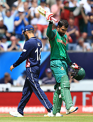 Bangladesh's Tamim Iqbal celebrates reaching his century during the ICC Champions Trophy, Group A match at The Oval, London.