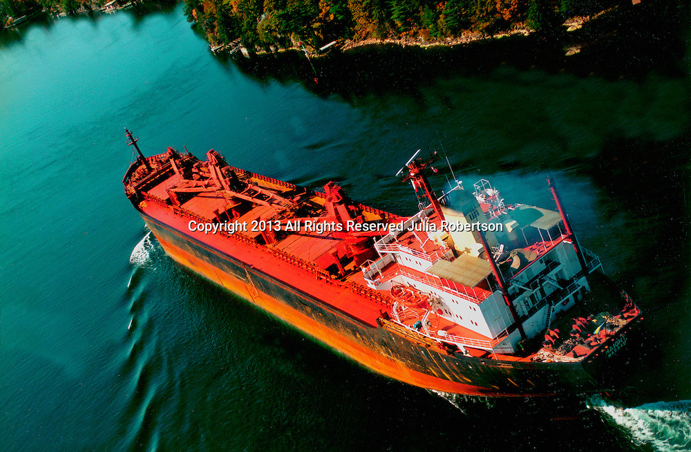 Aerial view of a tanker ship outside the 1000 Island area of Upstate New York