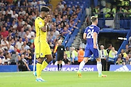 Bristol Rovers forward Ellis Harrison (9) with head in hands during the EFL Cup match between Chelsea and Bristol Rovers at Stamford Bridge, London, England on 23 August 2016. Photo by Matthew Redman.