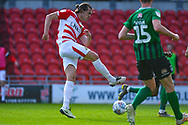 John Marquis of Doncaster Rovers (9) takes a shot during the EFL Sky Bet League 1 match between Doncaster Rovers and Coventry City at the Keepmoat Stadium, Doncaster, England on 4 May 2019.