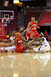 26 November 2016:  MiKyle McIntosh(11), Markese Mayfield, Paris Lee(1) during an NCAA  mens basketball game between the Ferris State Bulldogs the Illinois State Redbirds in a non-conference game at Redbird Arena, Normal IL