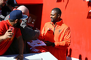 Salif Diao of Liverpool legends team signs autographs prior to kick off. Liverpool Legends  v Real Madrid Legends, Charity match for the LFC Foundation at the Anfield stadium in Liverpool, Merseyside on Saturday 25th March 2017.<br /> pic by Chris Stading, Andrew Orchard sports photography.