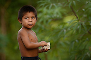 Macushi boy,<br /> Fairview Amerindian village<br /> Iwokrama Reserve<br /> GUYANA. South America<br /> Warashi is used to carry things