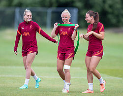 WALLASEY, ENGLAND - Wednesday, July 28, 2021: Liverpool's (L-R) Melissa Lawley, Ashley Hodson and Leighanne Robe during a training session at The Campus as the team prepare for the start of the new 2021/22 season. (Pic by David Rawcliffe/Propaganda)