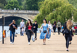 Licensed to London News Pictures. 29/05/2021. London, UK. Members of the public finally get to enjoy the warm weather after weeks of rain in Hyde Park, London. The Met Office have forecast warm weather and sunshine for the South East and London over the Bank Holiday weekend with temperatures predicted to hit up to 25c on Monday. Photo credit: Alex Lentati/LNP