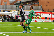 Celtic FC Forward Leigh Griffiths run at the goalkeeper on attack during the Ladbrokes Scottish Premiership match between Hamilton Academical FC and Celtic at New Douglas Park, Hamilton, Scotland on 4 October 2015. Photo by Craig McAllister.