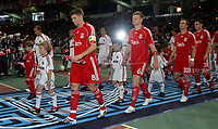 Photo: Paul Thomas.<br /> AC Milan v Liverpool. UEFA Champions League Final. 23/05/2007.<br /> <br /> Steven Gerrard (8) leads out Liverpool.