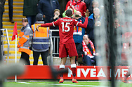Daniel Sturridge of Liverpool celebrates after scoring his teams 1st goal. Premier League match, Liverpool v Huddersfield Town at the Anfield stadium in Liverpool, Merseyside on Saturday 28th October 2017.<br /> pic by Chris Stading, Andrew Orchard sports photography.