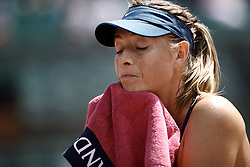 June 2, 2018 - Paris, Ile-de-France, France - Maria Sharapova of Russia reacts during her womens singles third round match against Karolina Pliskova of Czech Republic during day 7 of the 2018 French Open at Roland Garros on June 2, 2018 in Paris, France. (Credit Image: © Mehdi Taamallah/NurPhoto via ZUMA Press)
