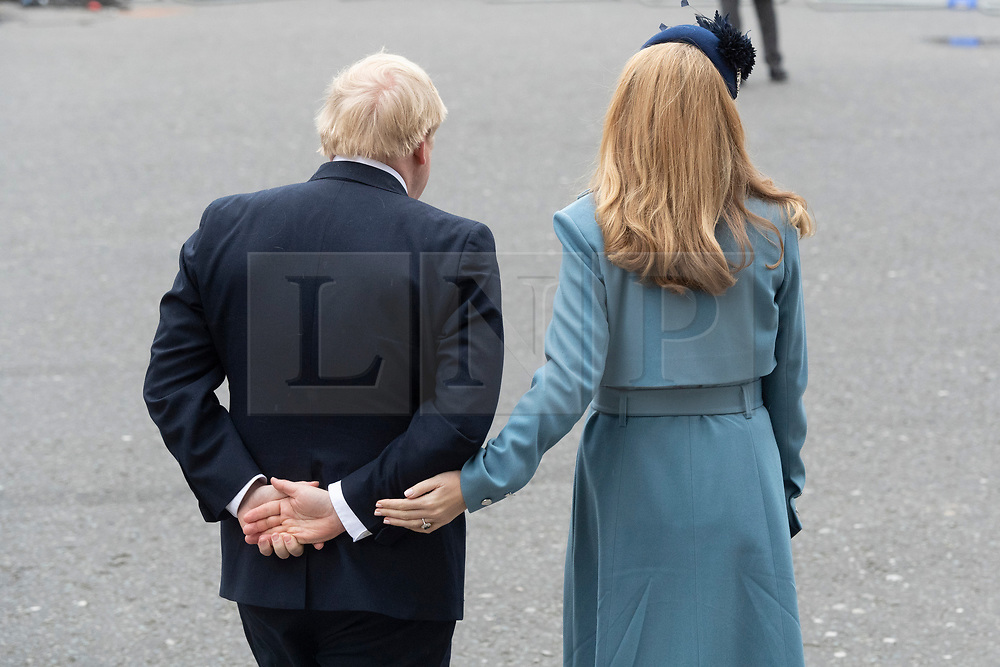 © Licensed to London News Pictures. British Prime Minister Boris Johnson and pregnant fiancé Carrie Symonds attend the Commonwealth Service at Westminster Abbey. Photo credit: Ray Tang/LNP