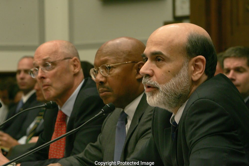 Left to right:Secretary of the Department of the Treasury Henry M. Paulson, Secretary of the Department of Housing and Urban Development, Alphonso Jackson, and Chairman of the Board of Governors of the Federal Reserve Ben Bernanke testify before the House Financial Services Committee in Washington, DC on September 20, 2007.  Photograph: Dennis Brack