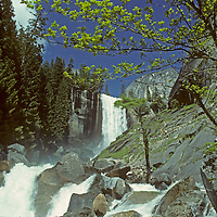 The Merced River rushes below Vernal Falls, a popular hiking destination in California's Yosemite National Park.