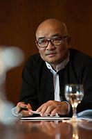 """19 JUN 2012, BERLIN/GERMANY:<br /> Maung Thura """"Zarganar"""",  Comedian, Komoediant, Film- und Fernsehschauspieler, Filmregisseur burmesischer Sprache und  Kritiker des Militaerregimes in Burma/Myanmar, waehrend einem Pressegespraech, Hotel Melia<br /> IMAGE: 20120619-01-010<br /> KEYWORDS Regimekritiker"""