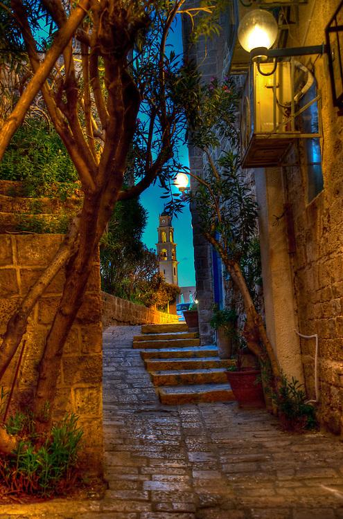 In old Jaffa at night