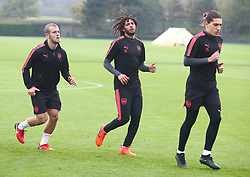 November 1, 2017 - London, England, United Kingdom - L-R Arsenal's Jack Wilshere Arsenal's Mohamed Elneny  and Arsenal's Hector Bellerin.during a Arsenal training session ahead of the UEFA Europa League Group H match against Red Star Belgrade (Crvena Zvezda)  at Arsenal training centre , London Colney on 1 Nov  2017 St.Albans, England  (Credit Image: © Kieran Galvin/NurPhoto via ZUMA Press)