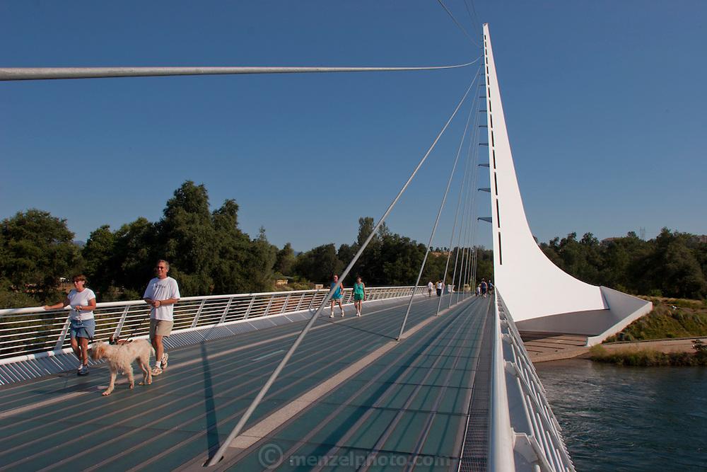 Sundial Pedestrian Bridge at Turtle Bay over the Sacramento River in Redding, California. Designed by Santiago Calatrava and completed in 2004