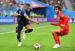 France's Kylian Mbappe and Belgium's Marouane Fellaini during 2018 FIFA World Cup semi-final match France v Belgium in St Petersburg, Russia, July 10, 2018. France won 1-0. Photo by Christian Liewig/ABACAPRESS.COM