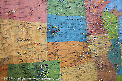 Map with pins in the Main Street Rally Headquarters during the Sturgis Motorcycle Rally. SD, USA. Friday, August 13, 2021. Photography ©2021 Michael Lichter.