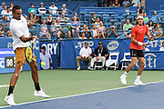 NICK KYRGIOS  and STEFANOS TSISPAS play doubles at the Rock Creek Tennis Center.