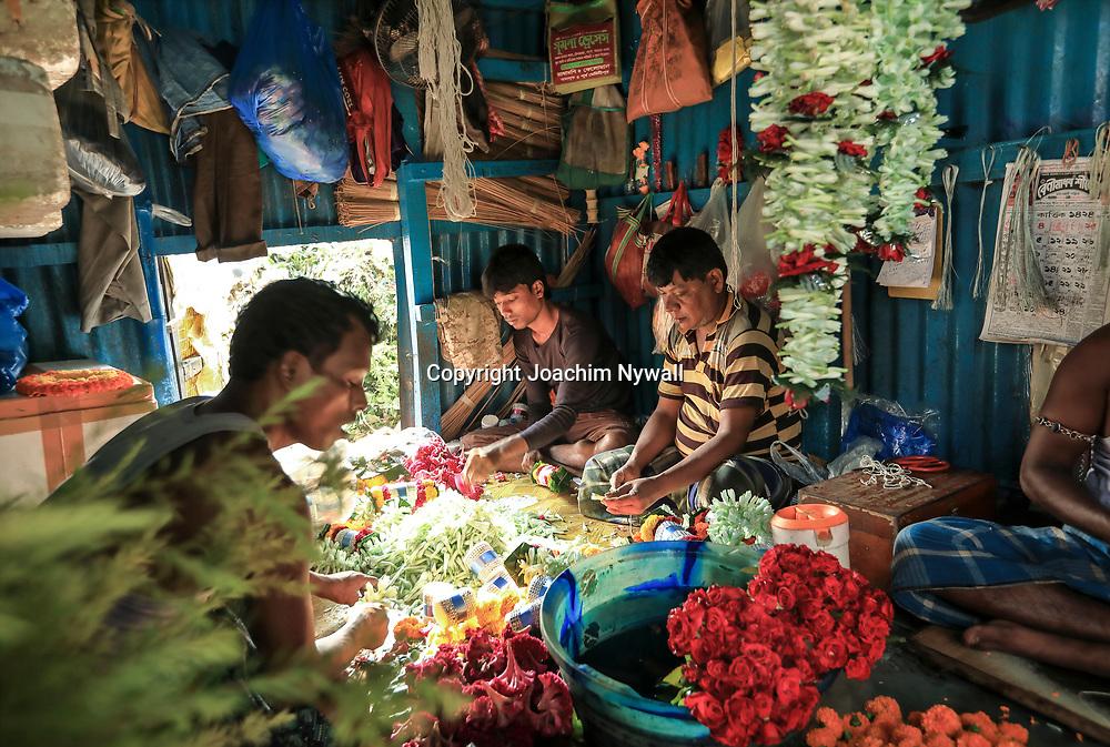 20171029 Kolkata Calcutta Indien<br /> Malik Ghat Flower market <br /> Blomstermarknad<br /> <br /> ----<br /> FOTO : JOACHIM NYWALL KOD 0708840825_1<br /> COPYRIGHT JOACHIM NYWALL<br /> <br /> ***BETALBILD***<br /> Redovisas till <br /> NYWALL MEDIA AB<br /> Strandgatan 30<br /> 461 31 Trollhättan<br /> Prislista enl BLF , om inget annat avtalas.