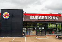 Burger King  Coventry  reopens its drive-thru lanes but only for Deliveroo  and Just Eat drivers picking up online orders photo by Mark Anton Smith