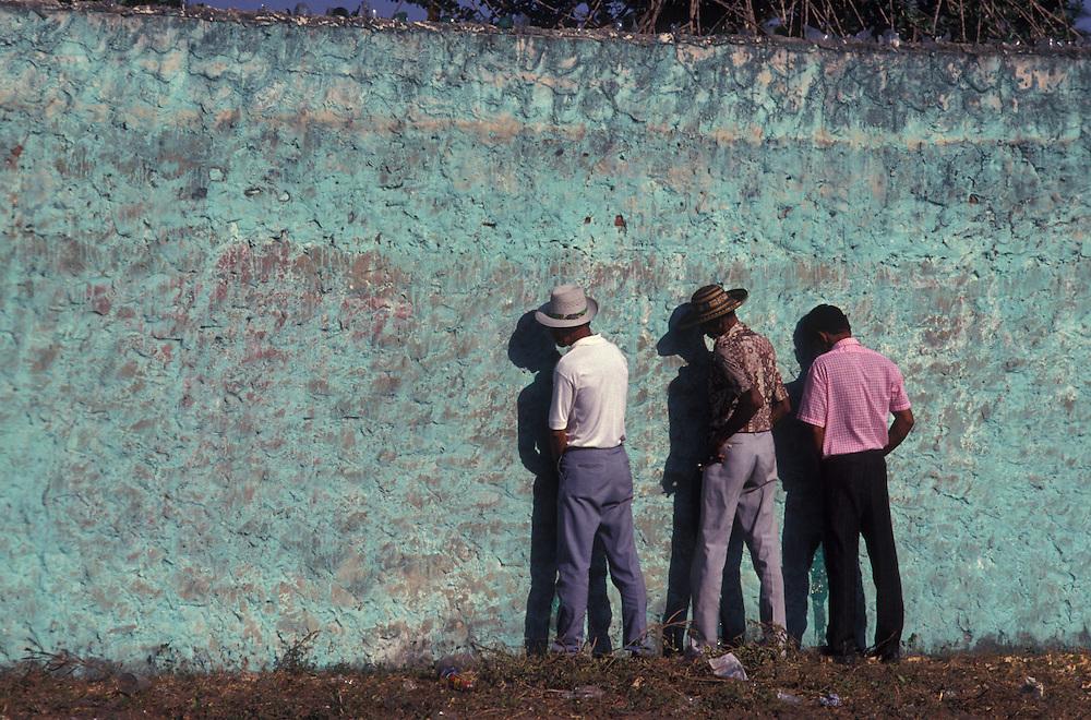 Three men take a pee. Barranquilla Carnival, Colombia