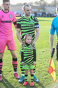 Mascot with Forest Green Rovers Joseph Mills(23) during the EFL Sky Bet League 2 match between Forest Green Rovers and Salford City at the New Lawn, Forest Green, United Kingdom on 18 January 2020.