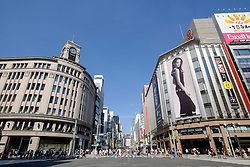 Street in upmarket shopping district of Ginza in Tokyo Japan