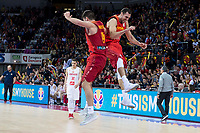 Spain Jonathan Barreiro and /Pablo Aguilar celebrating the victory during European Qualifiers to China 2019 World Cup match between Spain and Montenegro at Principe Felipe Stadium in Zaragoza , Spain. February 22, 2018. (ALTERPHOTOS/Borja B.Hojas)