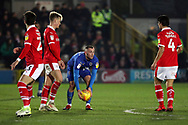 AFC Wimbledon midfielder Dylan Connolly (16) placing ball after winning free kick during the EFL Sky Bet League 1 match between AFC Wimbledon and Barnsley at the Cherry Red Records Stadium, Kingston, England on 19 January 2019.