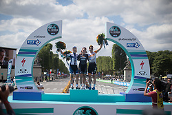 The top three finishers of the La Course, a 89 km road race in Paris on July 24, 2016 in France.