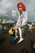 A giant David Bowie doll at Glastonbury Festival 25th July 2016, Somerset, United Kingdom.  The Glastonbury Festival runs over 3 days and has 3000 acts, including music, art and performance and approx. 150.000 attend the anual event.