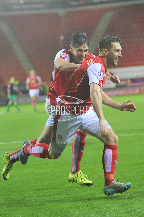 Rotherham United striker Matt Derbyshire and Rotherham United midfielder Lee Frecklington celebrate after he scores to go 3-0 up during the Sky Bet Championship match between Rotherham United and Bristol City at the New York Stadium, Rotherham, England on 28 November 2015. Photo by Ian Lyall.