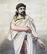 Jean Mounet-Sully (1841-1916) celebrated French tragedian in role of Oedipus in 'L'Oedipe roi', Jules Lecroix's French version of Sophocles's play. From 'Le Petit Journal', Paris, 17 September 1892. Actor, Theatre, Drama, France
