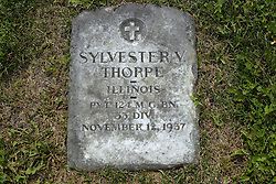 31 August 2017:   Veterans graves in Park Hill Cemetery in eastern McLean County.<br /> <br /> Sylvester V Thorpe Illinois Private 124 MG BN 33 DIV November 12 1937