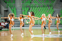 Dragond Ladies perform during basketball match between KK Union Olimpija Ljubljana and Ewe Baskets Oldenburg (GER) in Round #5 of EuroCup 2015/16, on November 11, 2015 in Arena Stozice, Ljubljana, Slovenia. Photo by Vid Ponikvar / Sportida