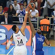 Anadolu Efes's Stephane Lasme (R) during their Turkish Airlines Euroleague Basketball PlayOffs Round 3 match Anadolu Efes between Real Madrid at Abdi ipekci arena in Istanbul, Turkey, Tuesday April 21, 2015. Photo by Aykut AKICI/TURKPIX