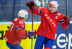 Ken Andre Olimb of Norway and Anders Bastiansen of Norway celebrate after scoring second goal during Ice Hockey match between Slovenia and Norway at Day 8 in Group B of 2015 IIHF World Championship, on May 8, 2015 in CEZ Arena, Ostrava, Czech Republic. Photo by Vid Ponikvar / Sportida