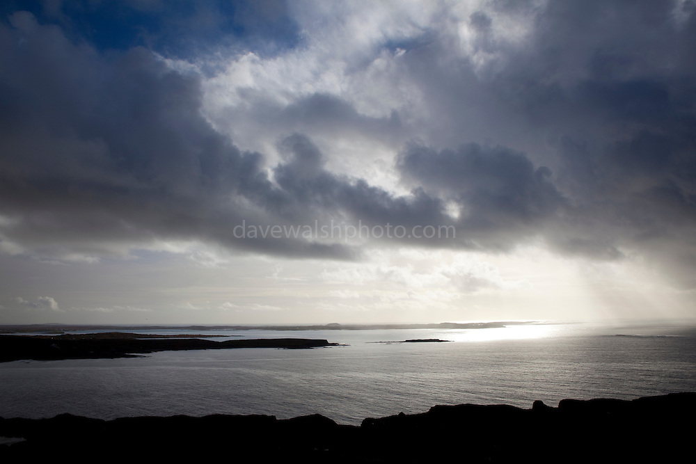 The view of the Altantic Ocean from the Sky Road, near Clifden, Connemara, Galway, Ireland.