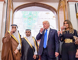 Saudi King Salman Bin Abdelaziz (or Abdul Aziz) Al Saud (left) shares traditional Arabian coffee as he receives US President Donald Trump and First Lady Melania in Riyadh, Saudi Arabia on May 20, 2017. This is the first US president's visit abroad. Photo by Balkis Press/ABACAPRESS.COM