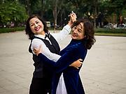 21 DECEMBER 2017 - HANOI, VIETNAM: Members of a ballroom dancing club rehearse in Lenin Park on Dien Bien Phu Street in Hanoi.   PHOTO BY JACK KURTZ