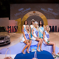 Queen Lili Papp (C) with runner ups Anett Strasszer (L) and Lilla Schneider (R) during the final of the Miss Balaton beauty contest held in an open air theatre.