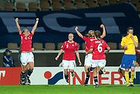 Fotball<br /> Semifinale EM kvinner 2009<br /> 04.09.2009<br /> Sverige v Norge<br /> Foto: Jussi Eskola/Digitalsport<br /> NORWAY ONLY<br /> <br /> Norge jubler for scoring<br /> L-R: Elise Thorsnes - Isabell Herlovsen